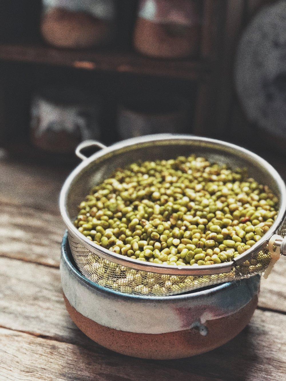 beans after draining & rinsing, to be covered with a tea towel to start the sprouting process