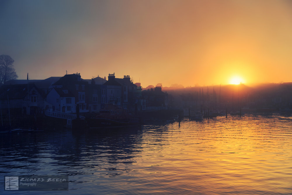 Foggy Sunset Weymouth Harbour