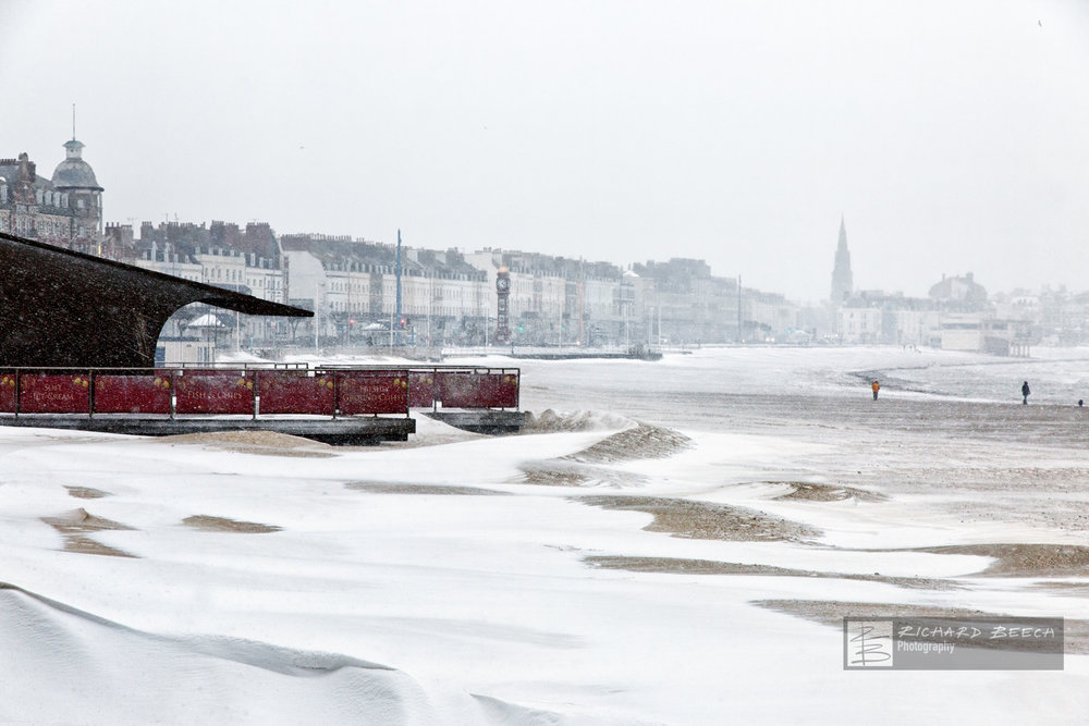 Weymouth Beach covered in Snow (2018)