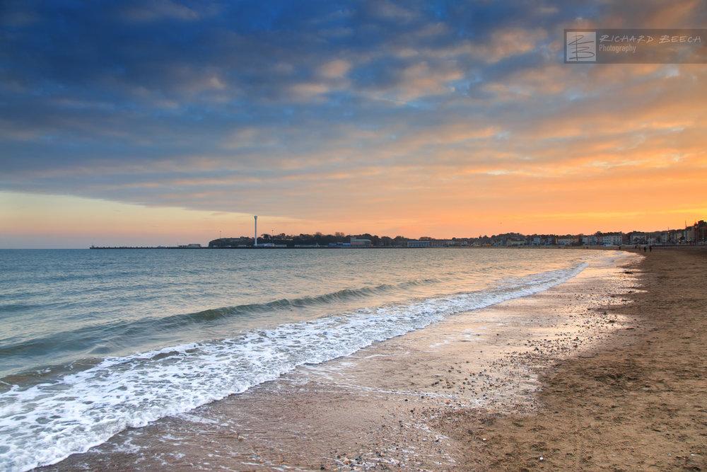 January Sunset Weymouth Bay