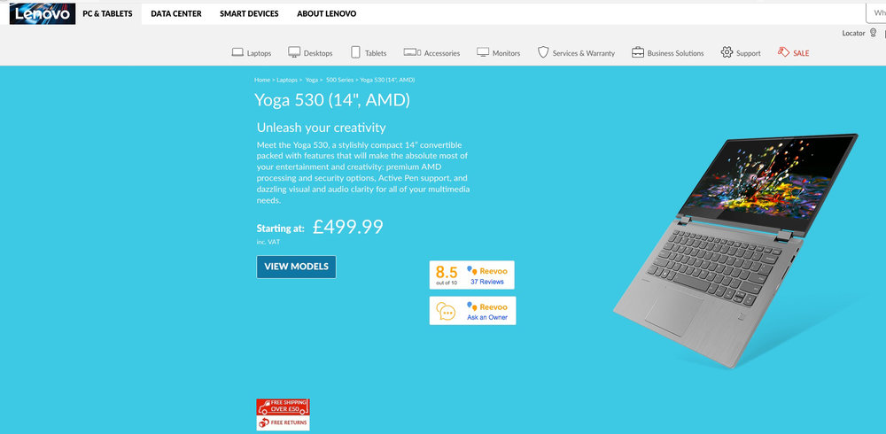 Lenovo Yoga 530 - Worldwide Desktop Image on the Lenovo Website