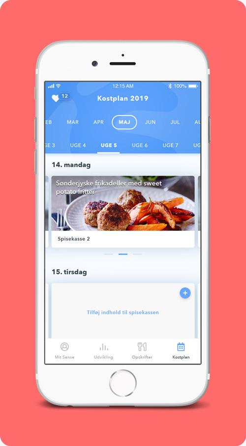 Planlæg dine spisekasser - I Sense-appen får du et perfekt overblik over dine daglige spisekasser. Du kan planlægge forud, og du kan se tilbage. Det er nemt at tilføje opskrifter, ingredienser, billeder og noter til din kostplans spisekasser. Du kan også hurtigt finde dine personlige favoritspisekasser og genbruge dem.