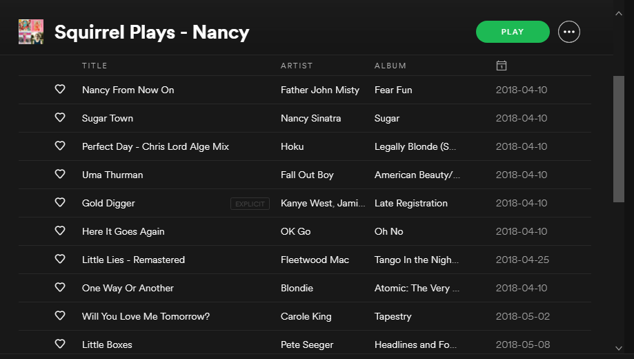 Nancy's playlist - Nancy is one of the characters in The Squirrel Plays played by Laufey Haraldsdottir. This is the playlist she created for her character and as a warm-up playlist.