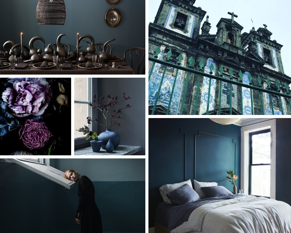 (clockwise from top left): 1.David stark Design/photo by Corrie Hogg 2.Porto, Lisbon/photo by amyb 3.The Citizenry, Midnight Series Bedding 4.Marat Safin Photographer 5.Florals by Trine Hisdal Photography 6.Estelle Nordenfalk Home via Coco Lapine Design