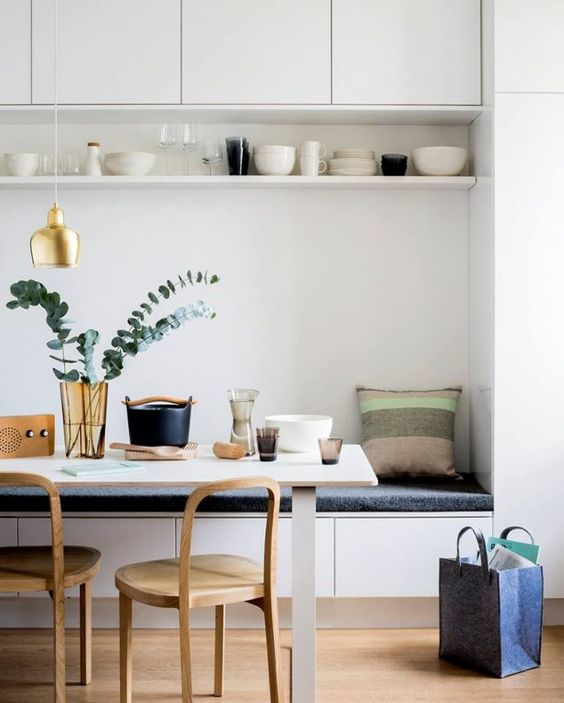 this super charming scandi style space has a clean minimal feel and a nice shelving detail above to accent the accessories and provide storage. image via  delighful.eu