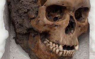 Un cráneo hallado en el Templo Mayor, México. Foto: AP