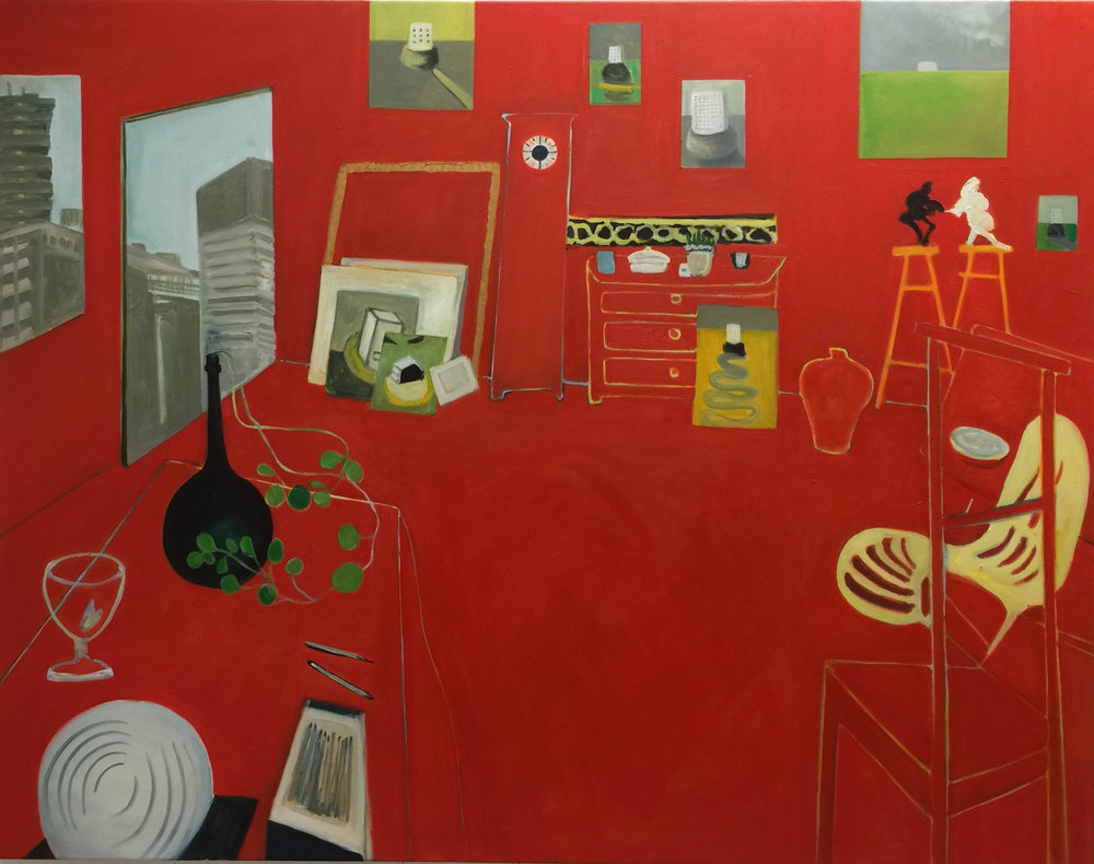 The Red Studio from The Studio Building, West London   Oil on canvas 2018