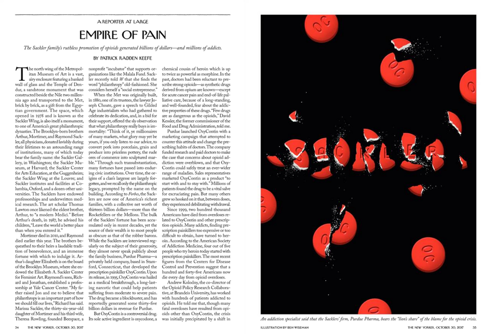 """Empire of Pain,"" The New Yorker, October 30, 2017"