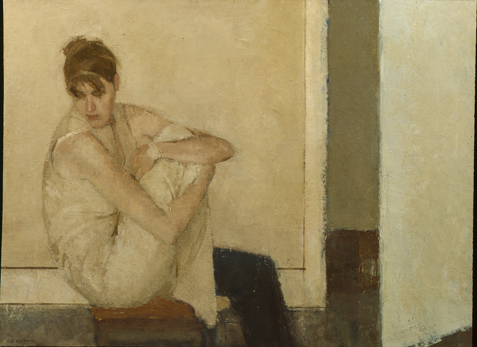 Seated Woman by Open Door, Oil on Canvas, 61 x 81.5cm