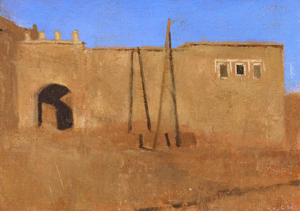 Evening at the Gate, Oil on Canvas, 25.5 x 35.5cm