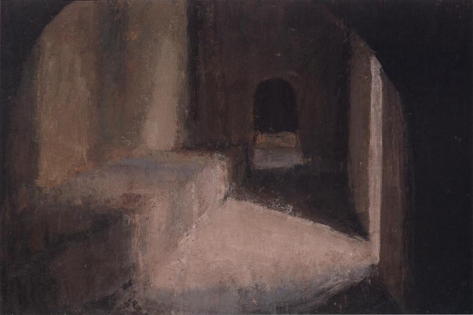 Entrance Hall, Casein Tempera on Card, 38 x 56cm