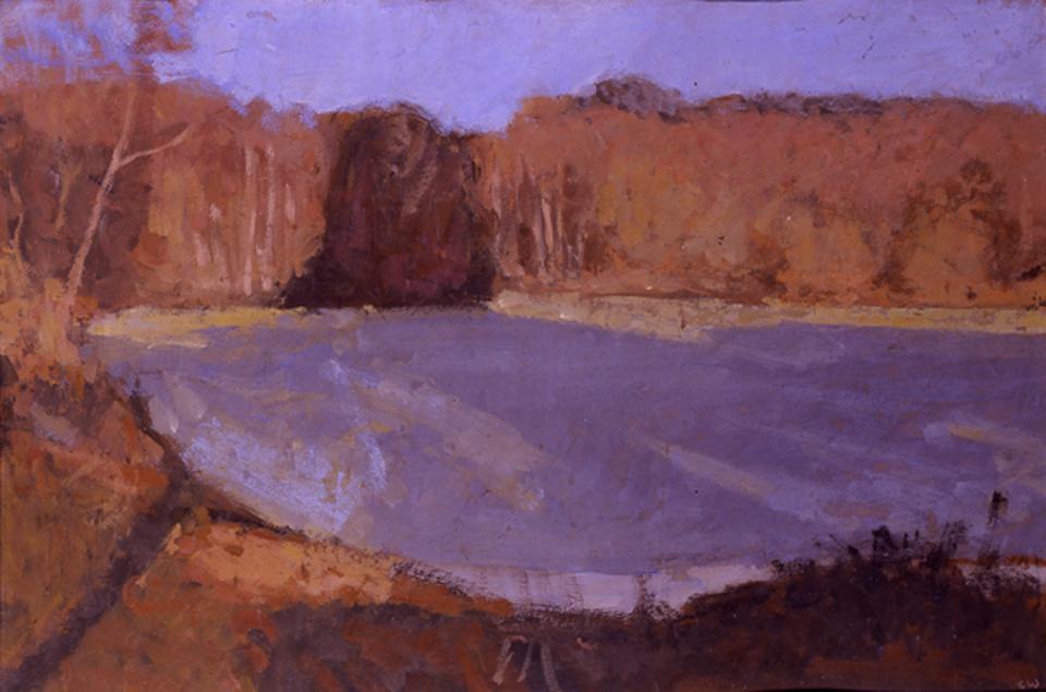 Lake in Autumn, Casein Tempera on Card, 38 x 57cm