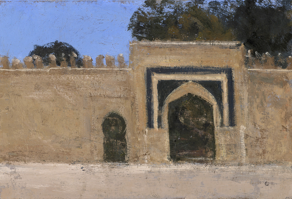 Gateway, Fez, Casein Tempera on Card, 20 x 29cm