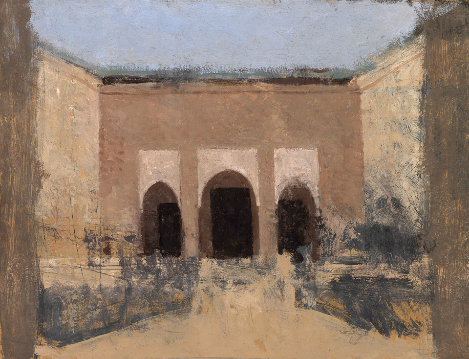Courtyard, Casein Tempera on Card, 38 x 51cm