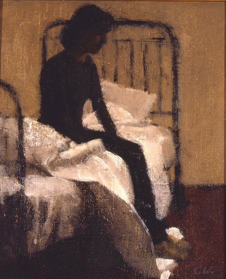 Girl Seated on Bed, Oil on Canvas