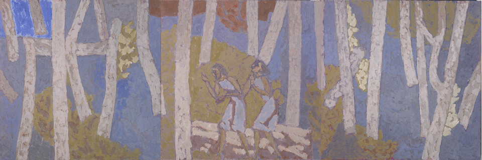 Two Figures Entering the Forest, Casein Tempera on Panel, 122 x 366cm