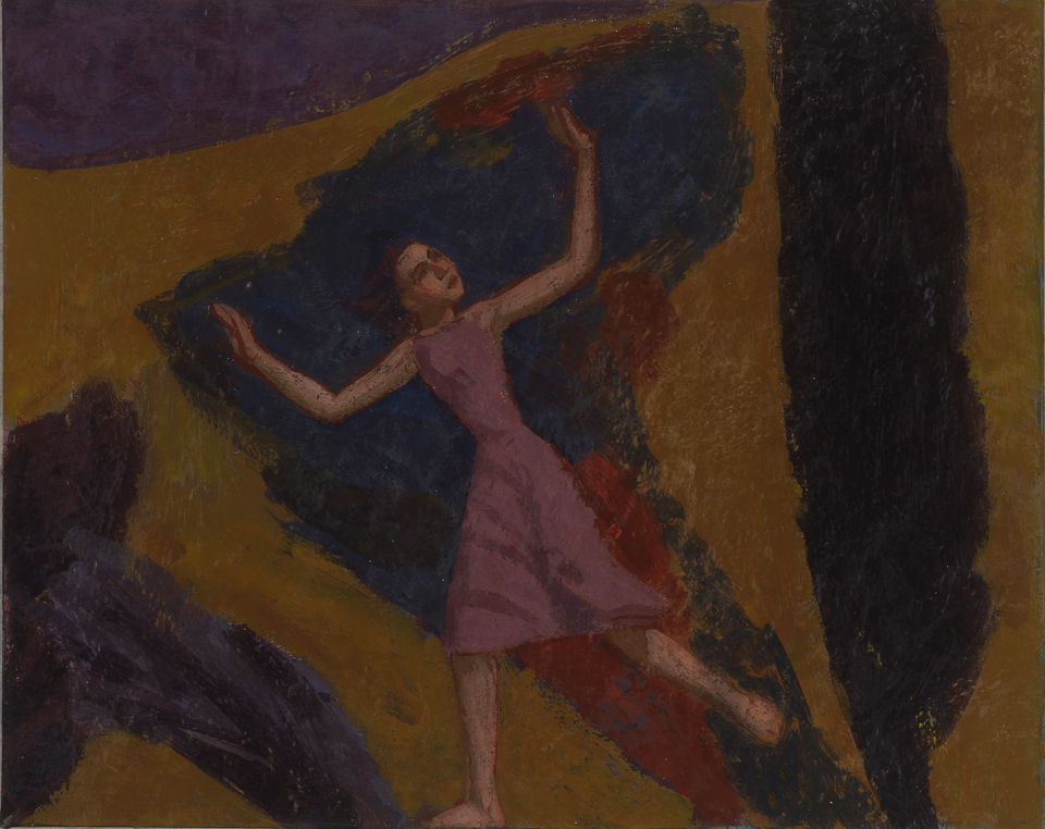 Girl Fleeing a Storm, Casein Tempera on Card, 20 x 25.5cm