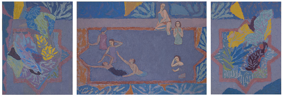 The Pool, Casein Tempera on Panel, 122 x 353cm