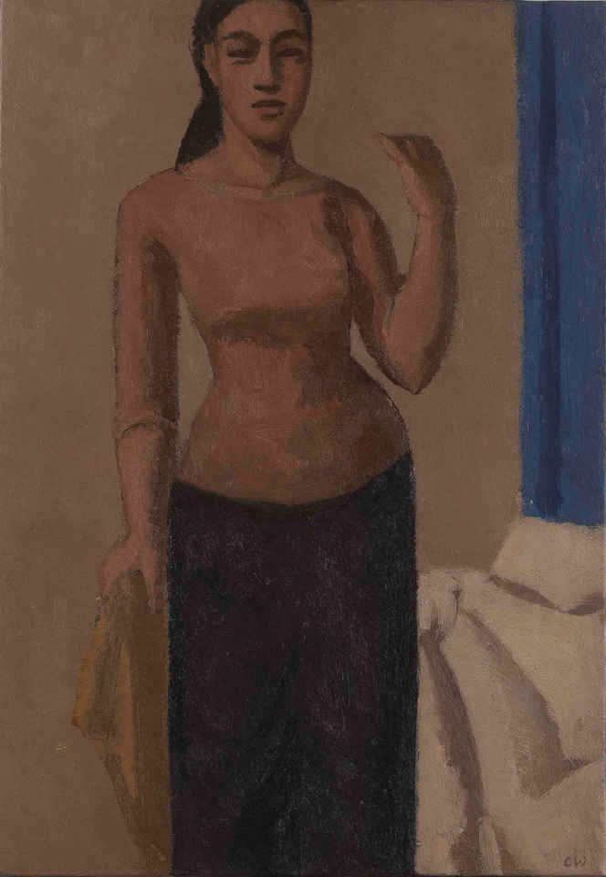 Woman Standing by a Bed, Oil on Canvas, 51 x 35.5cm