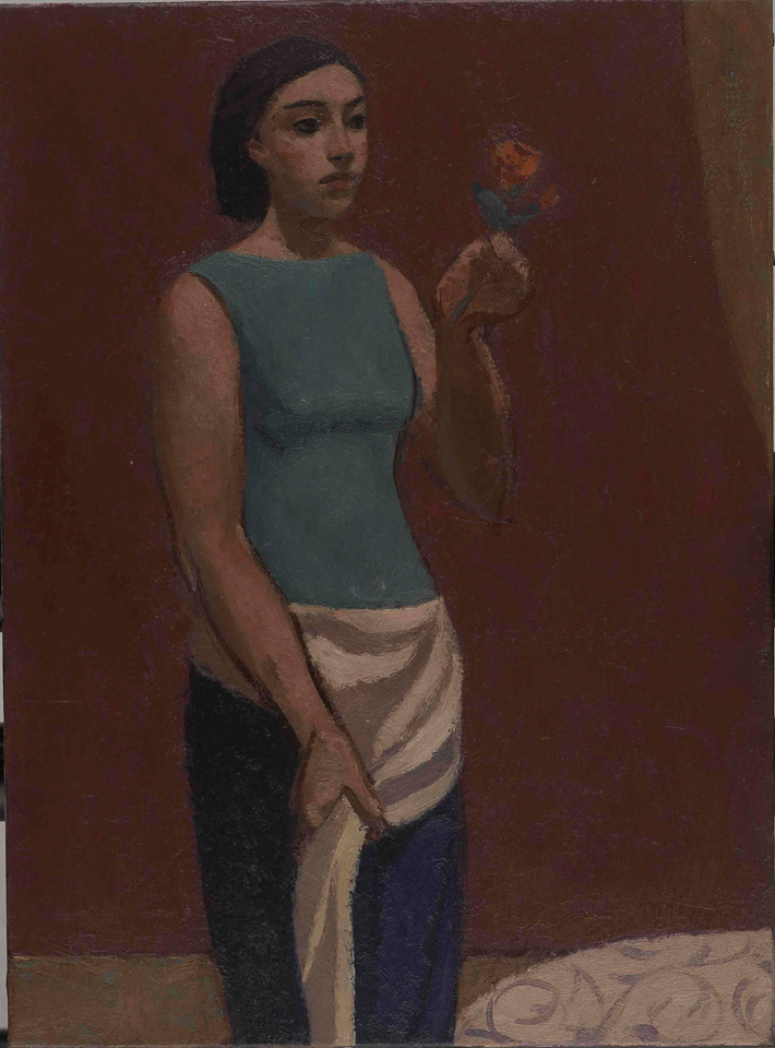 Girl Holding a Flower, Oil on Canvas, 44.5 x 33cm