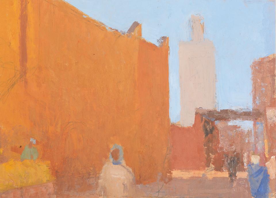 La Rue, Casein Tempera on Card, 37 x 51.5cm