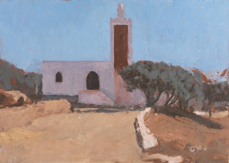 Mosquée à Touama, Casein Tempera on Card, 39 x 54.5cm