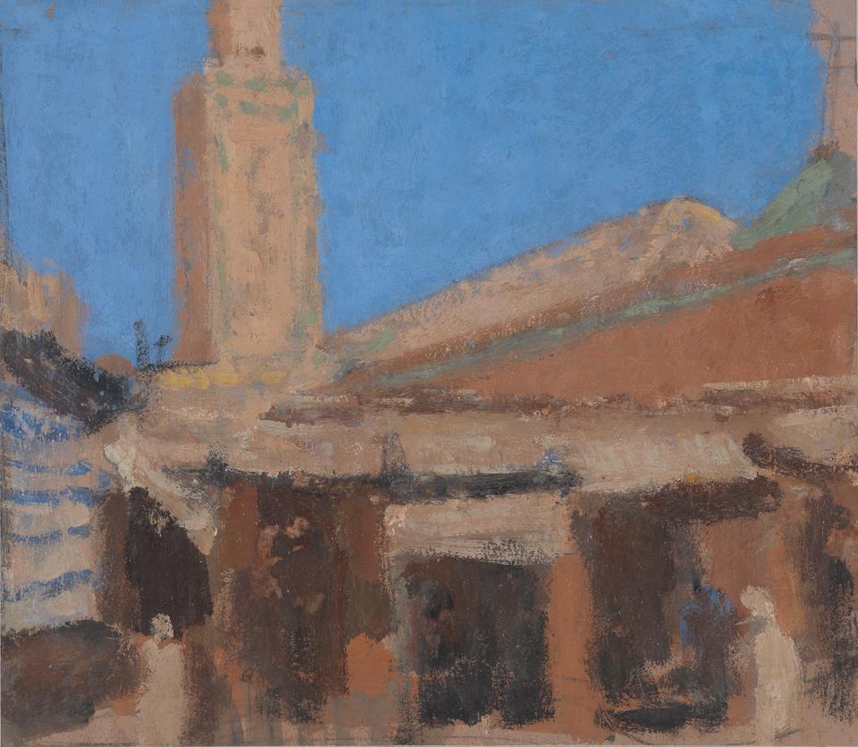 Minaret de la Mosquée Ben Youssef, Casein Tempera on Card, .5 x 22.5cm
