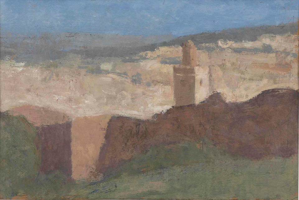 Fes from the Merenid Tombs, Casein Tempera on Card, 20 x 30.5cm