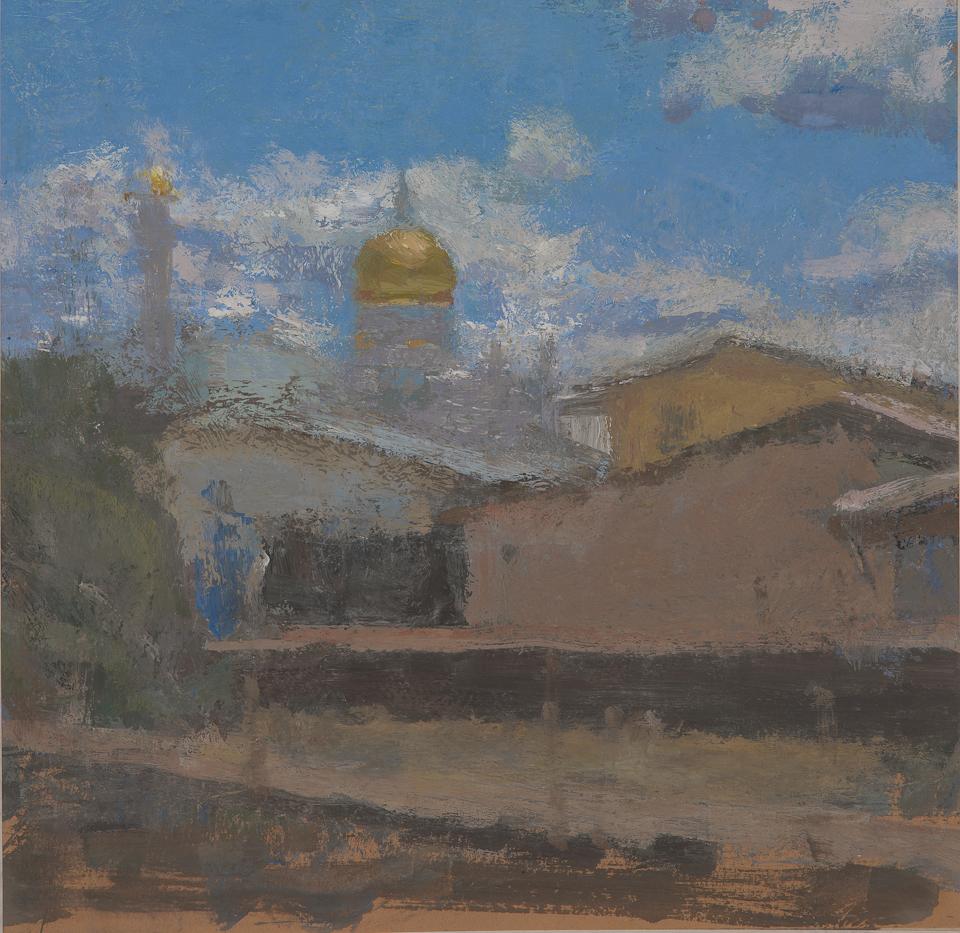 Dome of the Sultan Ali Saifuddin Mosque, Brunei, Casein Tempera on Card, 25.5 x 26.5cm