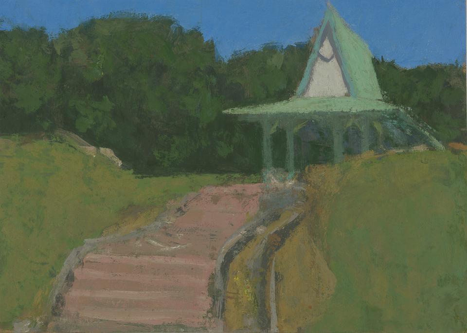 Pavillion, Brunei, Casein Tempera on Card, 26.5 x 37.5cm