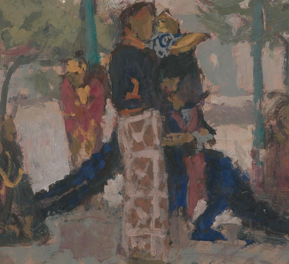 Performers, Kraton, Jogjakarta, Central Java, Casein Tempera on Card, 37.5 x 41.5cm