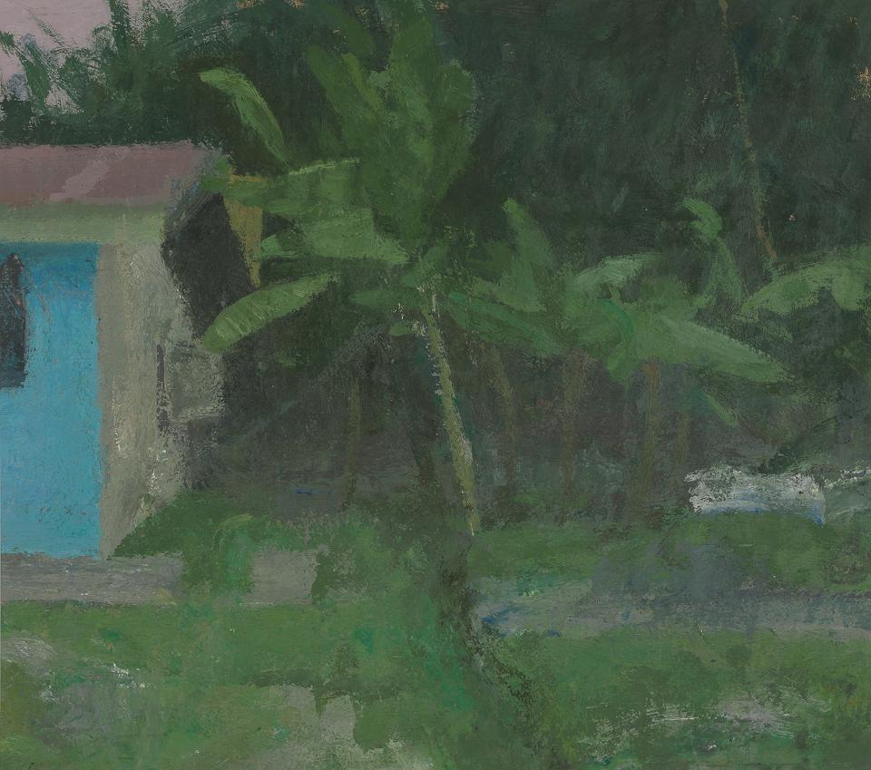 Garden near Harapan Rainforest, Sumatra, Casein Tempera on Card, 38 x 43cm