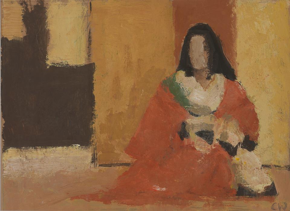 Kabuki Actress, Tokyo, Casein Tempera on Card, 19.75 x 26.25cm