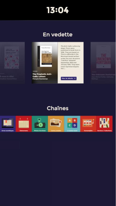 Version actuelle, écran d'accueil