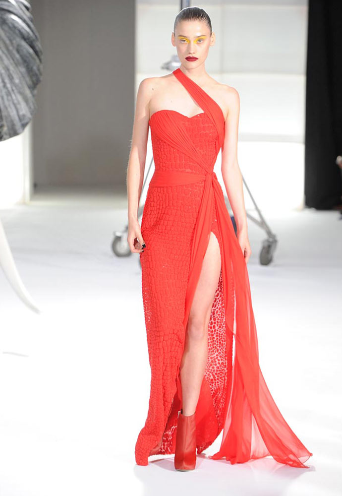 RED SEED BEAD CROCODILE GOWN WITH CHIFFON DRAPE