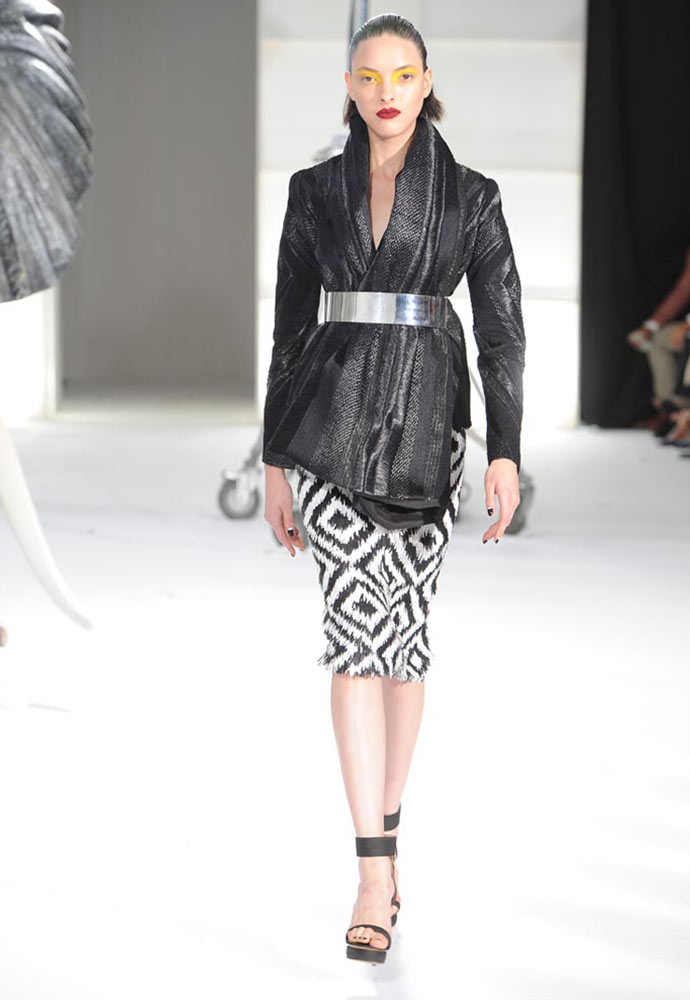 RAFFIA, SILK AND WOOL WOVEN SHAWL JACKET WORN WITH ZULU GRAPHIC SEQUIN SKIRT