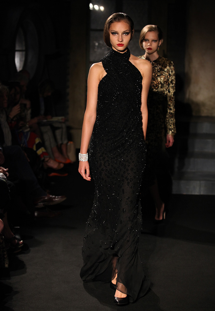 Degradé black beaded gown, black python shoes