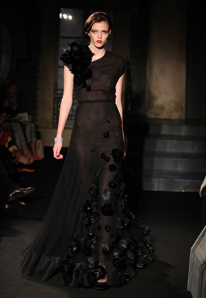 Feather flower tulle gown, black velvet shoes
