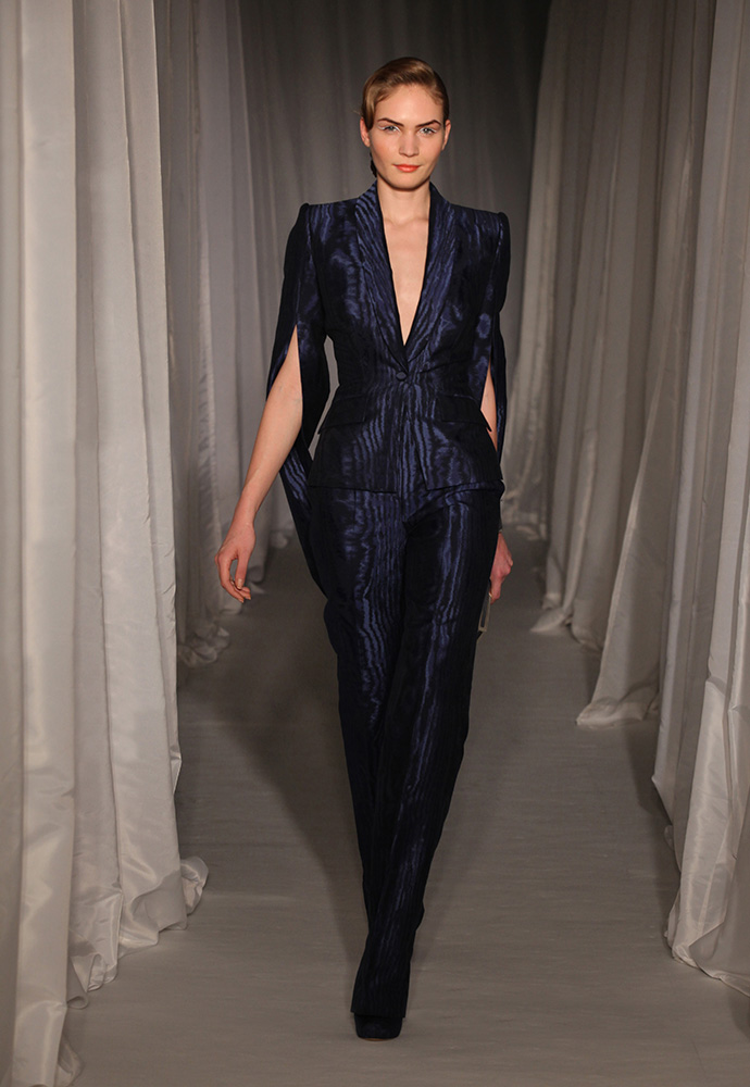 Midnight blue moiré loop sleeve trouser suit