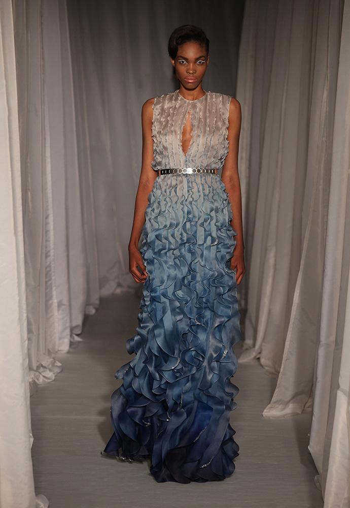 Blue hand painted degradé silk organza flounce gown with slim silver hexagon belt