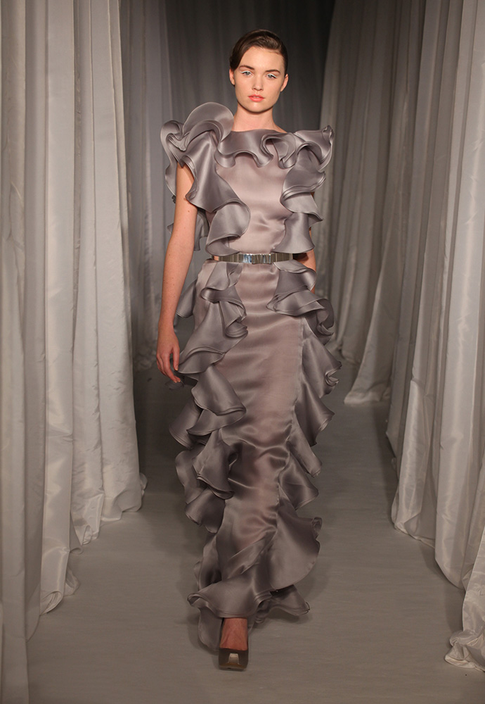 Grey satin organza backless flounce gown with slim silver bow belt