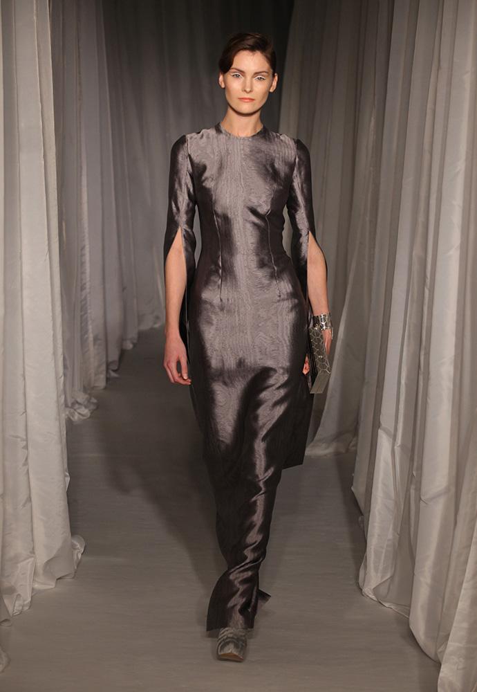 Grey mauve silk moiré loop sleeve gown