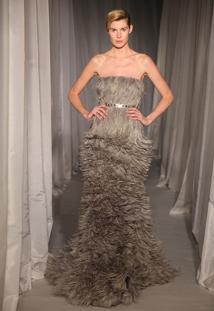 Sage heckle feather strapless gown with slim hexagon belt