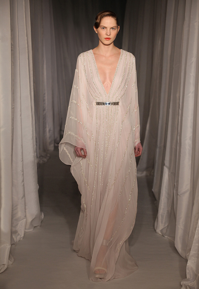 Pale lilac kaftan gown in chiffon with silver beaded willow with slim silver hexagon belt