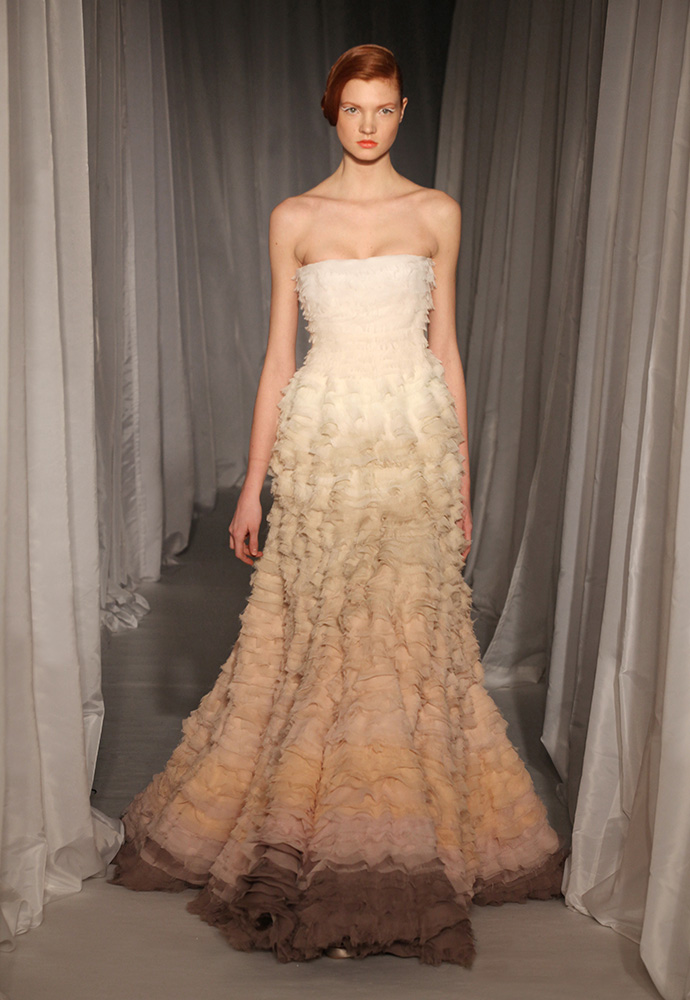Cherry blossom gown in chiffon with degradé frills