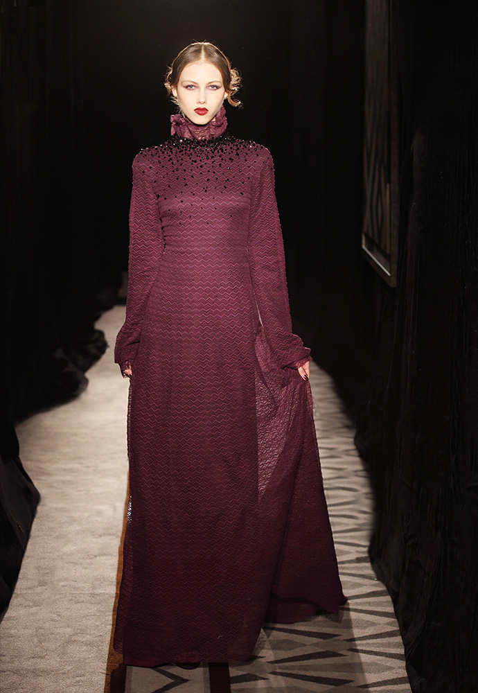 Jet crystal neckline gown in aubergine hand-made lace with degradé lining