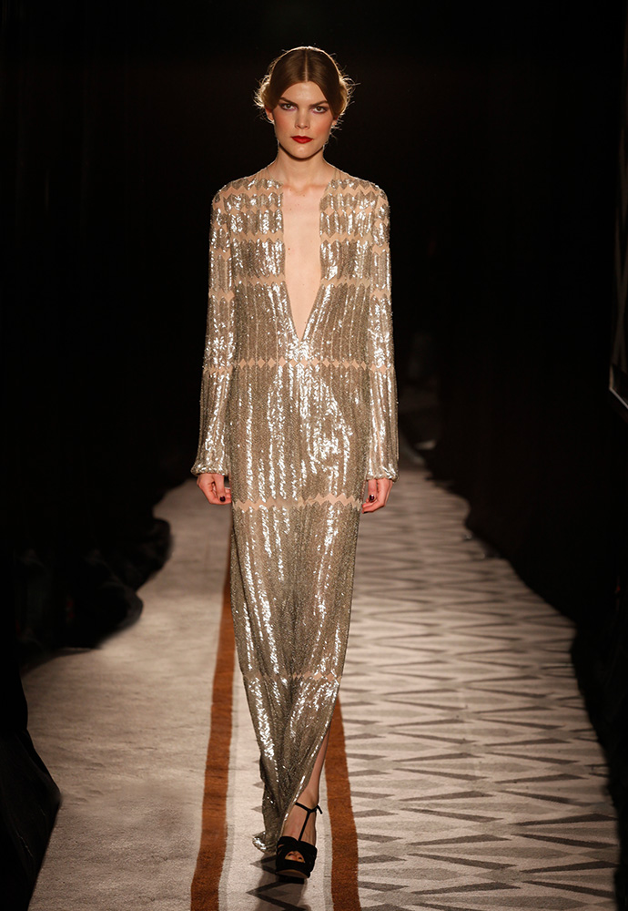 Interrupted herringbone beaded gown in bugle beads and chiffon