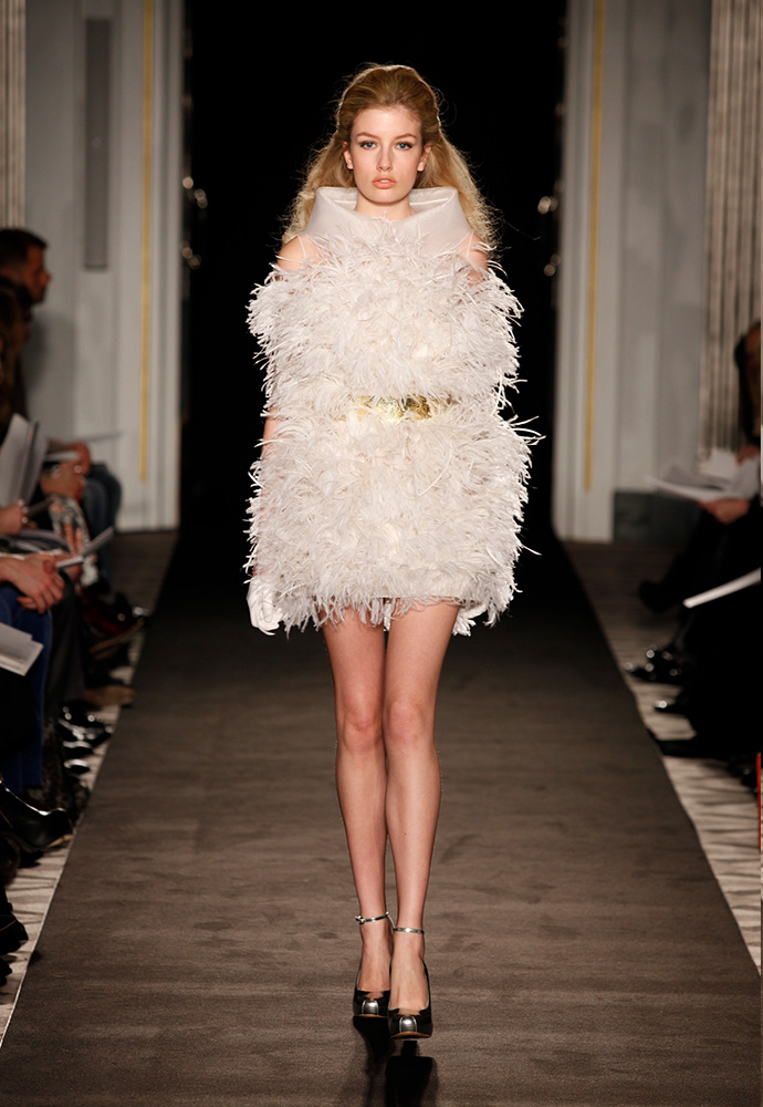'Necklace concept' dress in burnt ostrich feathers and belt in hammered silver