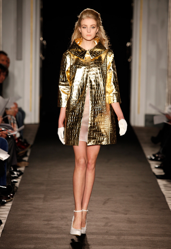 'Paving stone' coat in gold crocodile