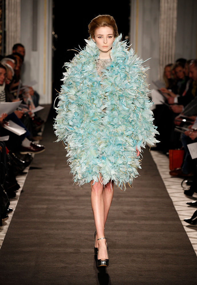 'Blue opal' feather coat in hand-dyed feathers dress in printed organza